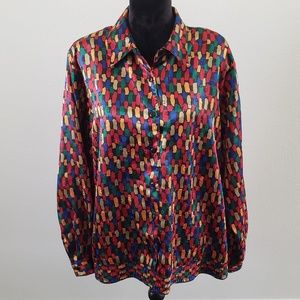 B2G1 VTG 90's Notations Colorful Dot Button Down